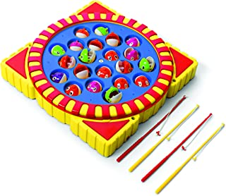 Ideas In Life Fishing Toy with 21 Fish 4 Poles Battery Operated XL Electric Musical Fishing Game Board for Children Kids - Catch Fish As Board Spins