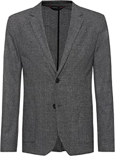 HUGO Mens Agaltus214J2 Extra-Slim-fit Checked Jacket in Stretch Fabric
