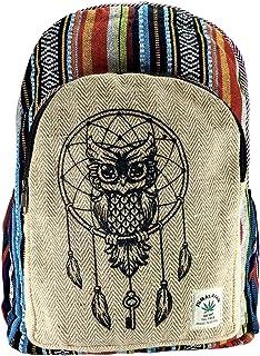 Mochila orgánica 100%. De Fibra de cáñamo y algodón a Rayas Compartimento para Ordenador portátil, Hecho en Nepal.art31