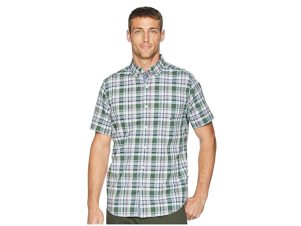 Nautica Short Sleeve Poplin Plaid Woven Shirt (Pine Forest) Men