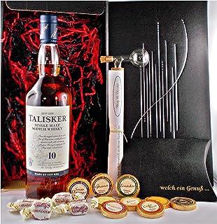 Geschenk Talisker 10 Jahre Single Malt Whisky  Glaskugelportionierer  Edelschokolade  Fudge
