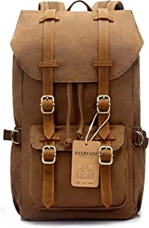 """EverVanz Canvas Backpack for Travel Hiking Casual School Daypack Fits 15"""" Laptop"""