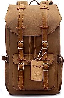 EverVanz Damen Herren Rucksack Reise Wandern Outdoorrucksack Canvas Leder Daypacks für 15 Zoll Laptop Studenten Rucksack für Schule