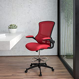 Flash Furniture Mid-Back Red Mesh Ergonomic Drafting Chair with Adjustable Foot Ring and Flip-Up Arms