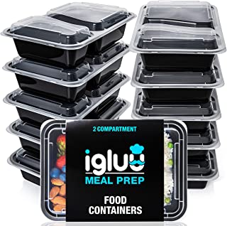 2 Compartment Meal Prep Containers - Reusable BPA Free Plastic Food Storage Trays with Airtight Lids - Microwavable, Freez...