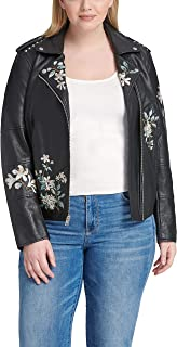 Size Women's Plus Faux Leather Embroidered Motorcyle Jacket