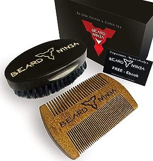 BEARD NINJA - Beard Brush & Comb Set for Men – 100% Boar Bristle Wood Brush & Handmade Sandalwood Comb kit - Luxury Gift for Grooming Styling & Shaping Beards and Mustache (Black/Brown)