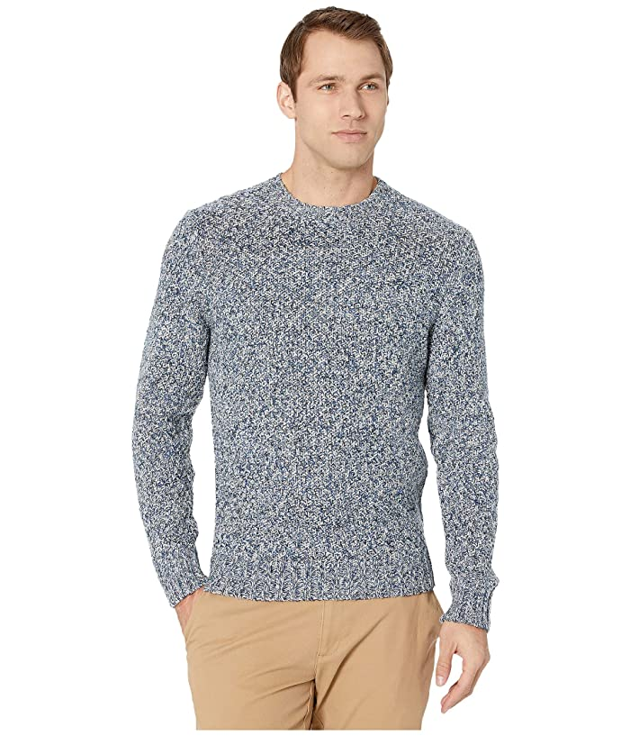 Lucky Brand  Cross Marl Stitch Pullover Sweater (Blue Multi) Mens Clothing