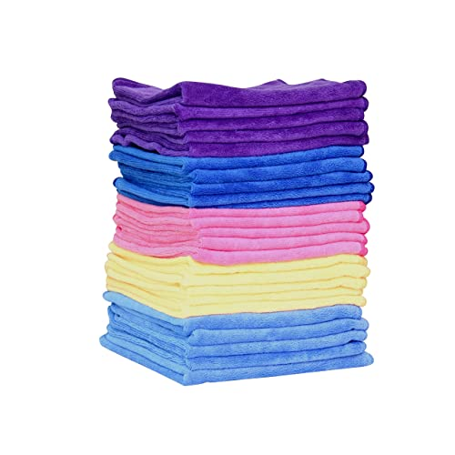 Premium Multi-Purpose Microfibre Cleaning / Polishing Cloths - Pack of 25 - 40x40cm - 300GSM : Large, Super Soft, Lint Free & Highly Absorbent : Window - Kitchen - Car - Dish - Industrial - Glass