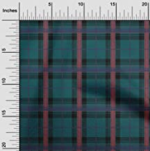 oneOone Polyester Lycra Fabric Tartan Check Printed Craft Fabric by The Meter 56 Inch Wide