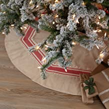"Piper Classics Farmhouse Red Stripe Tree Skirt, 48"" Diameter, Country Farmhouse Christmas and Holiday Seasonal Decor"