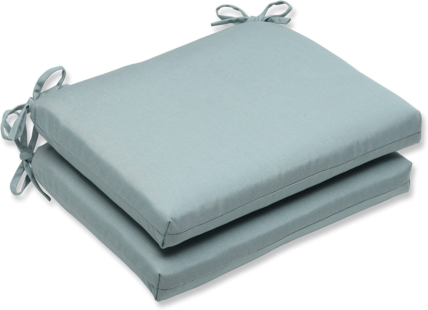 Pillow Perfect Squared Corners Seat Cushion with bluee Sunbrella Fabric, Set of 2