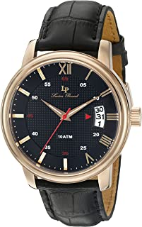 Lucien Piccard Men's 'Amici' Quartz Stainless Steel and Black Leather Casual Watch (Model: LP-40019-RG-01)