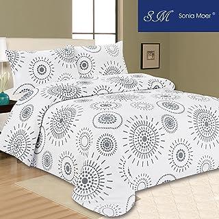 comprar comparacion Juego de ropa de cama Sonia Moer, con funda de edredón, gris, blanco, matrimonio grande