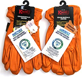 Kinco - 81, Buffalo Leather Work Gloves for Men Kinco's Toughest & Durable with Nikwax Waterproofing (XL) 2 Pair