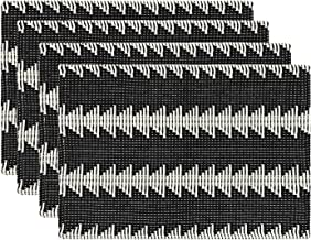 KIMODE 4 Pack Cotton Woven Placemats 14 in x 19 in, Black and White Geometric Kitchen Dining Table Mats, Machine Washable Place Mats for Farmhouse Minimalist Home Decorative,Neutral Texture