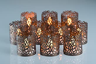POP STREET Flameless Tea Light Laser Cut Decorative Wraps Candles Holders- 50PCS for Flickering LED Battery Tealight Candl...
