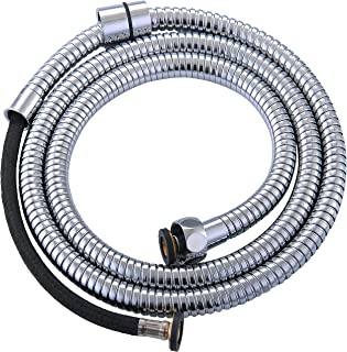 AVAbay 60-Inch Armored Hose - Long Shower Head Stainless Steel Hose Bathroom Toilet Handheld Showerhead Sprayer Extension Replacement Part with Brass Coupler, Polished Chrome