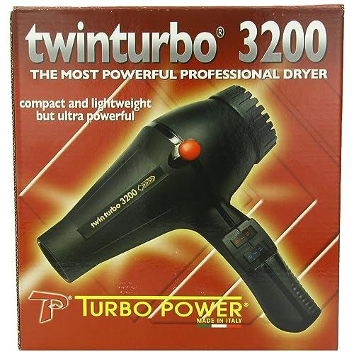 Pibbs Twinturbo 3200 1900 watt Compact Lightweight Hair Dryer, Black