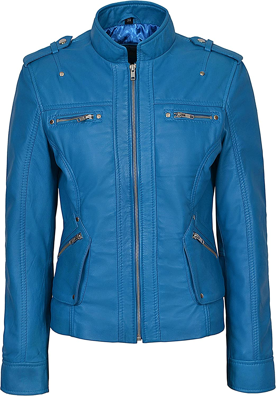 SMART RANGE New Ladies 1148 Electric bluee Military Style Casual Luxury Real Soft Napa Leather Jacket