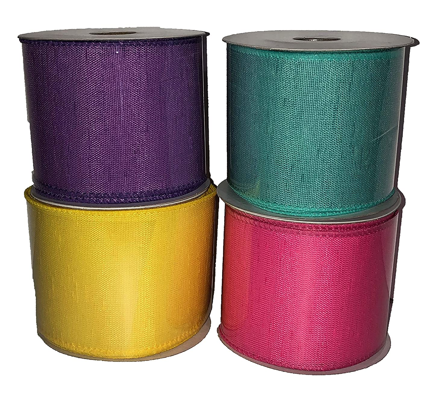 Bright Summer Wire Edged Ribbon- Set of 4- Pink, Purple, Blue, and Yellow