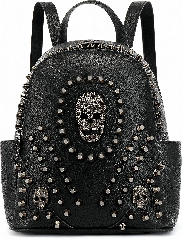 Scarleton Studded Skull Bag for Women, Vegan Leather Punk Rock Rivet Bag, Shoulder Bag H1417
