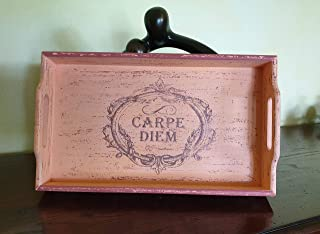 Vassoio CARPE DIEM. Vassoio in legno Invecchiato con stile Shabby, Idea Decorativa/Regalo per casa