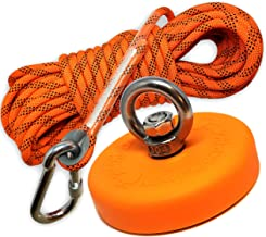 Super Strong Deluxe Fishing Magnet 880LB & Rope Kit   Rope Over 2000 LB Strong   Magnet 880lb (400KG) Pull   Durable Orange Rubber   Neodymium Rare Earth Magnet 3.54 inch(90 mm) for Magnet Fishing …