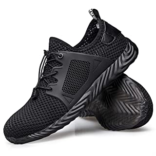 Hongchengye Steel-Toe Shoes Work Shoes Sneakers Men Indestructible Shoes Safety Shoes for Men Lightweight Breathable Slip-Resistant Shoes