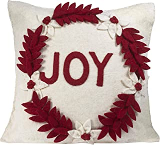 ARCADIA HOME Hand Felted Wool Joy Wreath Christmas Pillow Cover, 20