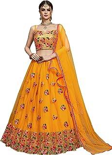 Fast Fashions Women's Net Semi-stitched Lehenga Choli (FF-5296_Yellow_Free Size)