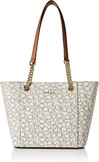 Calvin Klein womens Hayden Signature East/West Top Zip Chain Tote