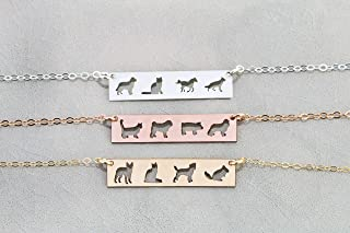 Four Pets Family Custom Dog BAR Necklace - IBD - Layering Charm - Personalize Animal Breed - 935 Sterling Silver 14K Rose Gold Filled
