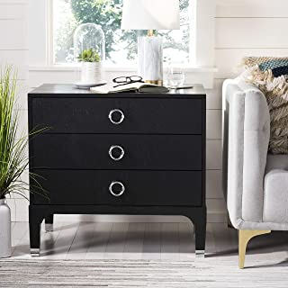 Safavieh Home Collection Lorna 3 Drawer Contemporary Night Stand Nightstand, Black