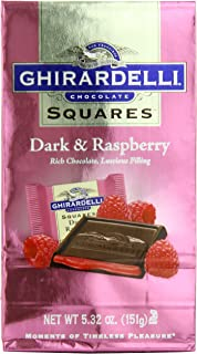 Ghirardelli Chocolate Squares, Dark & Raspberry Filled, 5.32-Ounce Packages (Pack of 6)