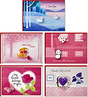Hallmark Paper Wonder Pop Up Valentines Day Cards Assortment (5 3D Valentine's Day Cards with Envelopes)