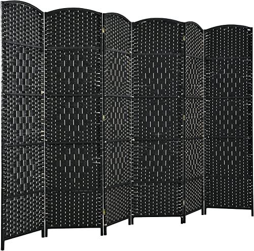 new arrival Giantex 6 Panel 6 Ft Tall Room Divider, Freestanding Wood Partition Room Dividers w/ Hand-Made Woven Paper Fiber, Indoor Outdoor Folding popular Privacy Screen for Balcony, Office, Living Room 2021 (Black) sale