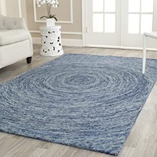 Safavieh Ikat Collection IKT635A Handmade Ivory and Blue Premium Wool Area Rug (8' x 10')