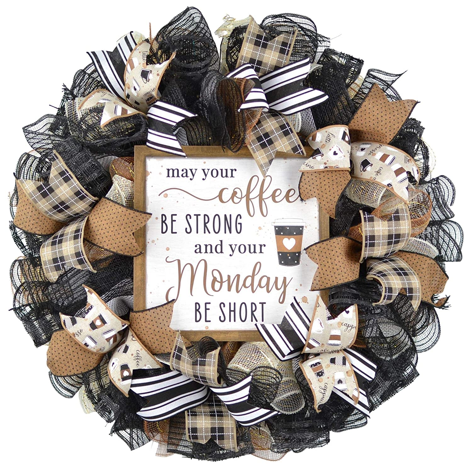 Coffee Wreath - Lovers Over item handling Super special price Gift Farmhouse Everyday Burlap D