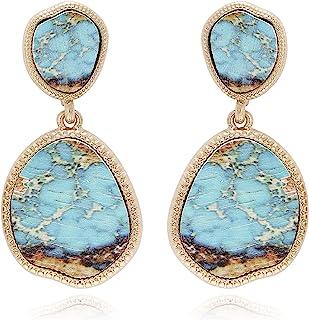 BONALUNA Bohemian Wood And Marble Effect Oval Shaped Drop Statement Earrings