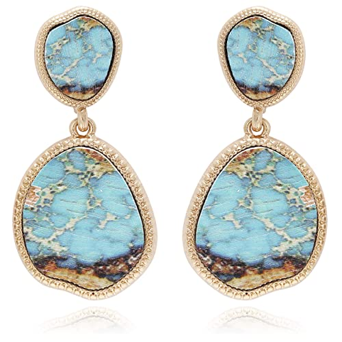 223960341 BONALUNA Bohemian Wood And Marble Effect Oval Shaped Drop Statement Earrings