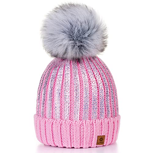 c770e92b8b4 4sold Womens Girls Winter Hat Knitted Beanie Large Pom Pom Cap Ski  Snowboard Hats Bobble Gold