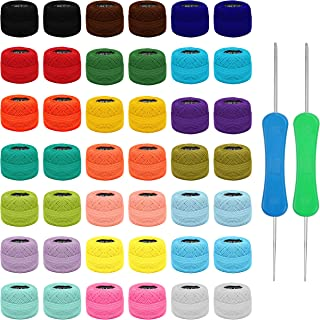 Kurtzy Kit Broderie avec Fil de Borderie et Crochets (42 Pelotes) - 2 Crochets de Broderies (1 mm et 2 mm) - Chaque Pelote...
