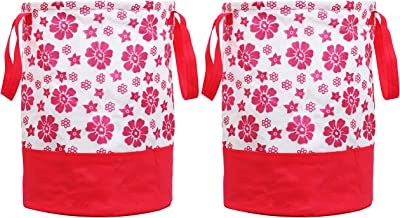 Heart Home Flower Printed 2 Pieces Waterproof Canvas Laundry Bag,Toy Storage,Laundry Basket Organizer 45 L (Pink) CTHH15743