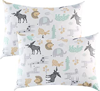 IBraFashion Toddler Pillowcases 2 Packs 14x19 for 13x18, 12x16 Pillow 100% Cotton Wild Animals Printings Set of 2
