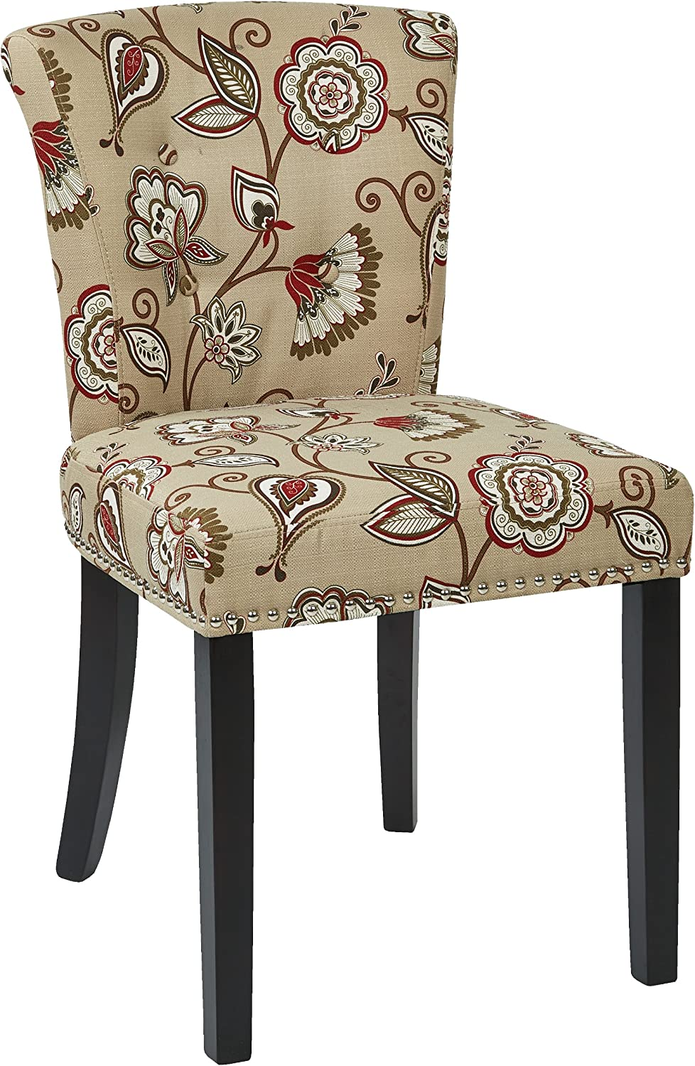 Avenue Six KND-A17 Kendal Tufted and Inner Spring Chair with Nailhead Detail and Solid Wood Legs, Avignon Bisque Fabric