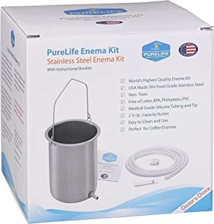 Purelife USA Surgical Grade Stainless Steel Enema Kit - USA Made- Higher Quality Than Imports