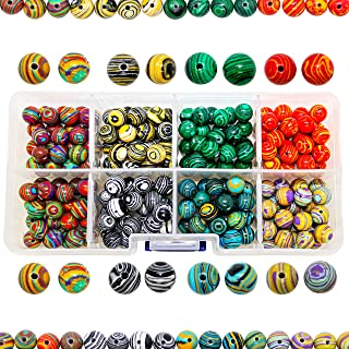 200 Marble Glass Beads for Jewelry Making Adults, 8mm Round Beads, Marbleized Beads for Bracelets Necklaces DIY Craft Jewelry Making, 7 Colors w/Free Bead Container