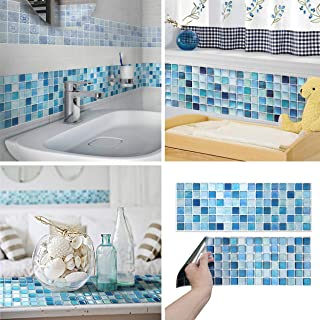 BEAUSTILE Decorative Tile Stickers Peel and Stick Backsplash Fire Retardant Tile Sheet (2pcs) (R, N.Blue)