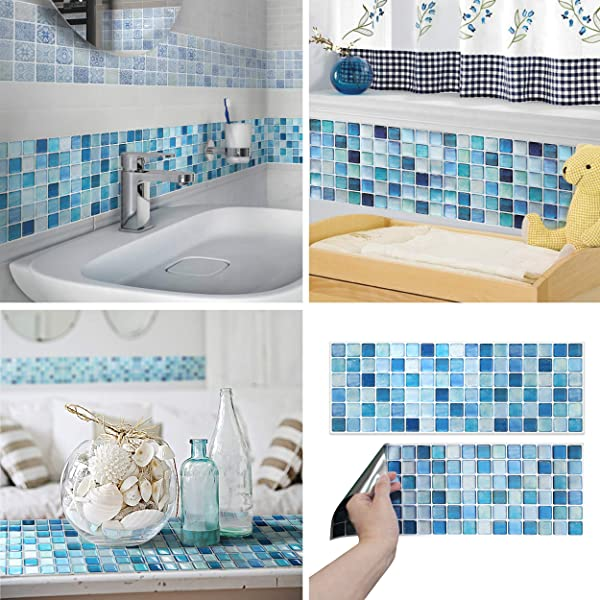 BEAUSTILE Decorative Tile Stickers Peel And Stick Backsplash Fire Retardant Tile Sheet 5pcs R N Blue